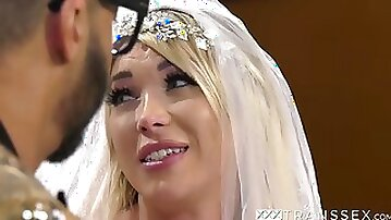 Delectable Aubrey Kate shows what TS brides do after wedding