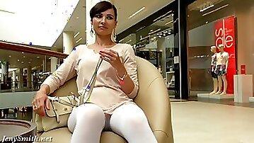 Pantyhosed Jeny Smith flashing in public