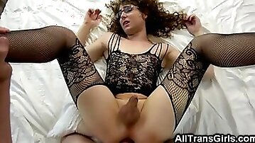 Trap in Bodystocking Gets Barebacked!
