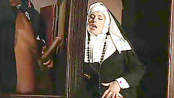 Sloppy nun culo torn up by a black priest in the confessional