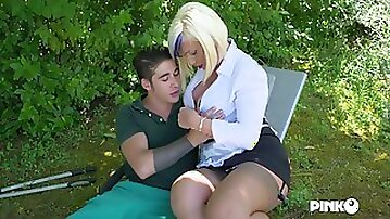 Busty blonde in stockings Christie Dom fucked in the anal hole