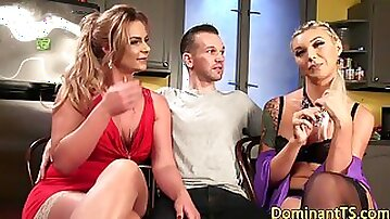 MILF with strap-on gets fucked and fucks dude and shemale