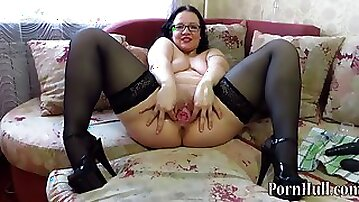 Vaginal fisting and bottle in pussy, mature huge boobed cougar