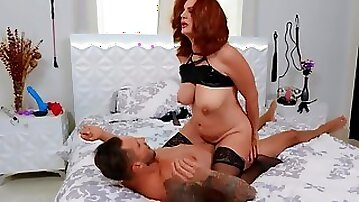 Tall guy cheats on girlfriend with red-haired mature neighbor