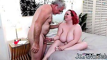 Busty Redhead BBW Quinn Rain Sates Her Desires With Grandpas Big Cock