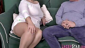 Grannie sucks fat dick