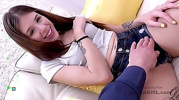 Charming babe rimming fucked during audition