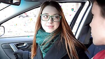 Slutty girlfriend in glasses Alita Angel cheats with a lusty boss