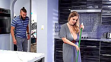 BBW Codi Vore bounces on a stiff prick in the kitchen