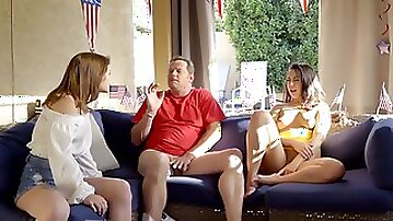 Two shameless babes seduced older man into a threesome