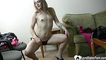 Provocative solo girl in things is dancing