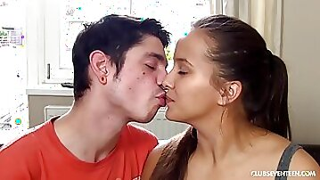 Super girlfriend is getting her soft pussy licked, by her handsome boyfriend, on the sofa