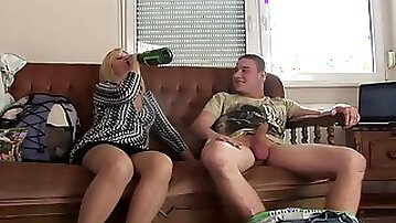 Hot blonde mature mom gets laid with younger lover