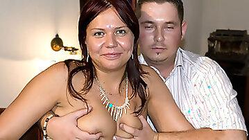 Homemade couple enjoy a bang on the sofa