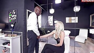 Aroused blonde ends up fucking in the most addictive interracial