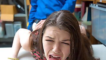Monsterous cock pounding Anastasia Roses tiny vagina