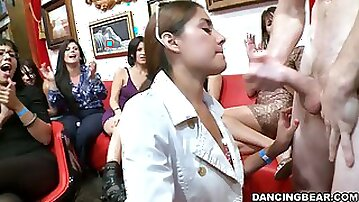 CFNM and Blowjob Action in All Girl Party with Male Strippers
