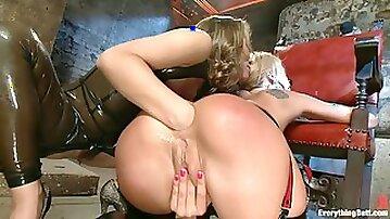 Asshole fisting & fucking with two hot sluts