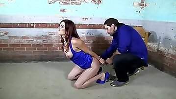 Submissive young brunette in stockings & handcuffs loves Bondage