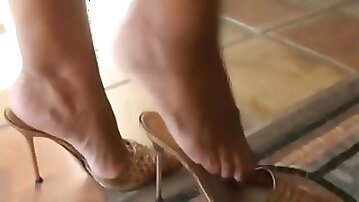 Mature legs & feet in high heels mules (best of)