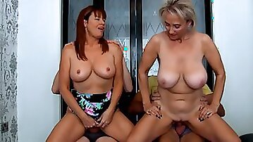 Mature grandmas having fun - foursome with 2 busty old ladies