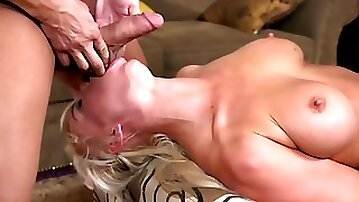 Rope tied curvy MILF manhandled and humiliated by two studs
