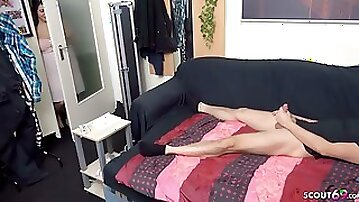 German Curvy Step Sister catch Bro Jerk and Help with Fuck