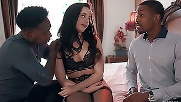 Two big black dudes drill anus and pussy of sex-appeal white babe Whitney Wright