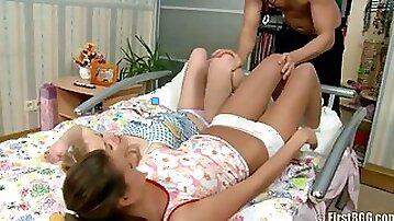 Jizz hungry teens threesome