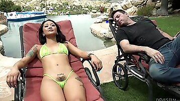 Korean babe in extreme micro bikini Saya Song gets laid by the poolside