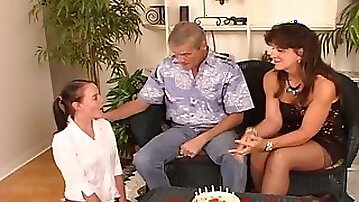 Mom and Daddy give teen a CUM FILLED BIRTHDAY