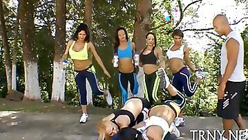 CFNM fitness trannies sucked off by their personal trainers