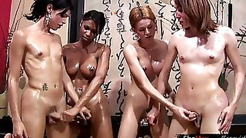 Foursome shemale gangbang full of cock sucking and anal fuck