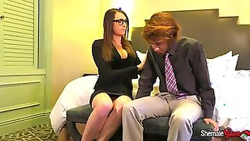 Slim t-girl in glasses and heels rides a firm shaft