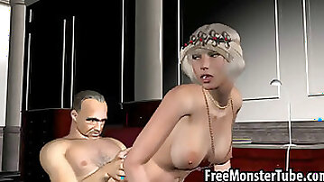Classy 3D cartoon blonde gets fucked by a mobster