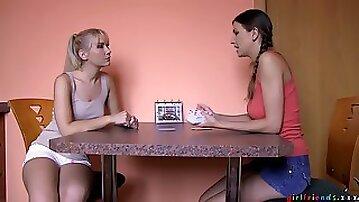 Amateur lesbian teens in scenes of seductive oral fun