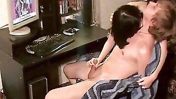 Amateur is wanking dick of her friend