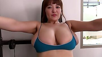 Outdoor fitness and pool solo with buxom Japanese - Big Asian tits in bikini