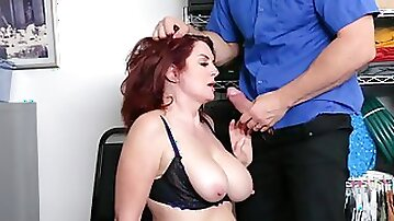 Big-boobied mature redhead has to satisfy security officers dick