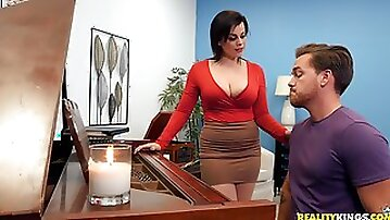 Milf piano teacher fucks student in rough scenes