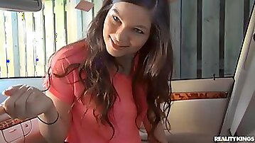 Cute-looking hottie Nina Turk gets impaled by a pretty big dick