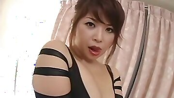 Japanese office mom in pantyhose - Asian tits