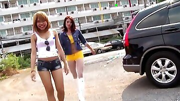 Amateur Thai chicks Candy and Potay moan during gentle fucking
