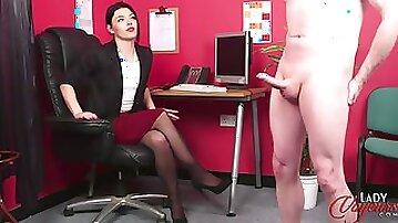 Secretary Sapphire Rose watches her dirty boss while he masturbates