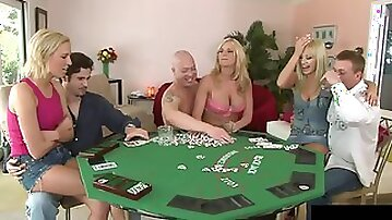Poker game turns into an amazing orgy with cock craving blondes