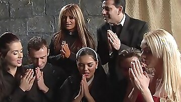 Kinky orgy at a funeral with widow Jasmine Black and her mature girls