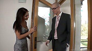 Quite leggy bootyful brunette MILF Rachel Evans lets nerd eat her cunt