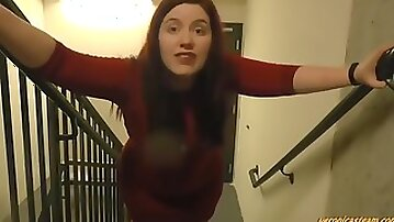 Red Dress Enormous Farting Fat Ass Goddess Moons the Stairwell