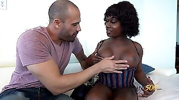 Ebony transsexual whore Rose Da Hunter is fucked by white man