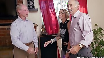 Tattooed young chick is having crazy sex with two old farts